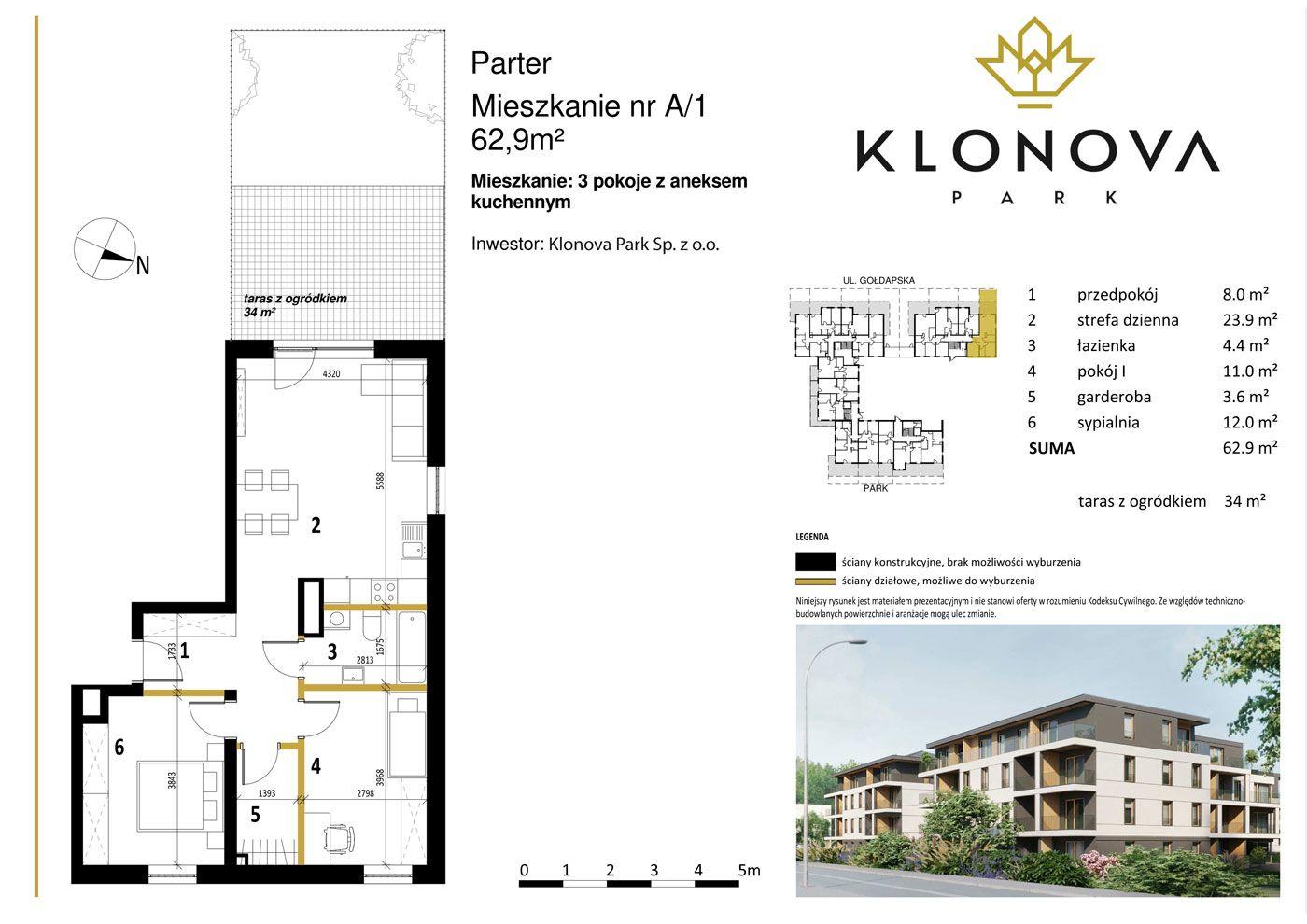 Apartamenty Klonova Park - Plan mieszkania A/1