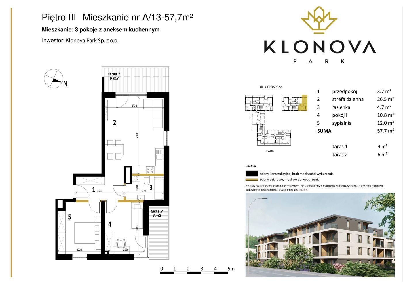 Apartamenty Klonova Park - Plan mieszkania A/13
