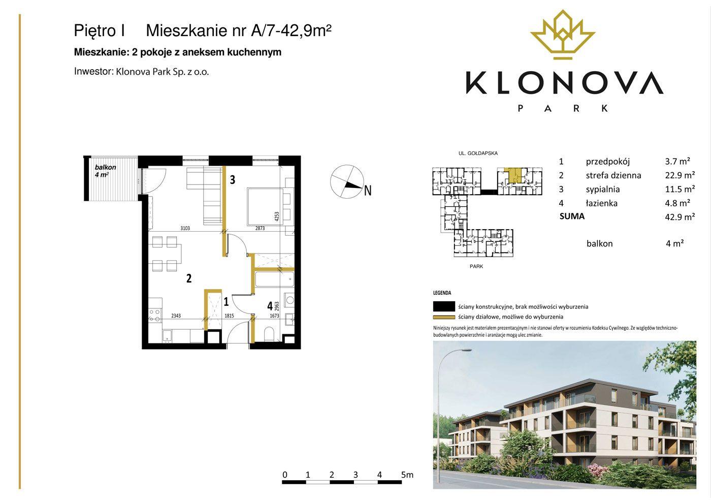 Apartamenty Klonova Park - Plan mieszkania A/7