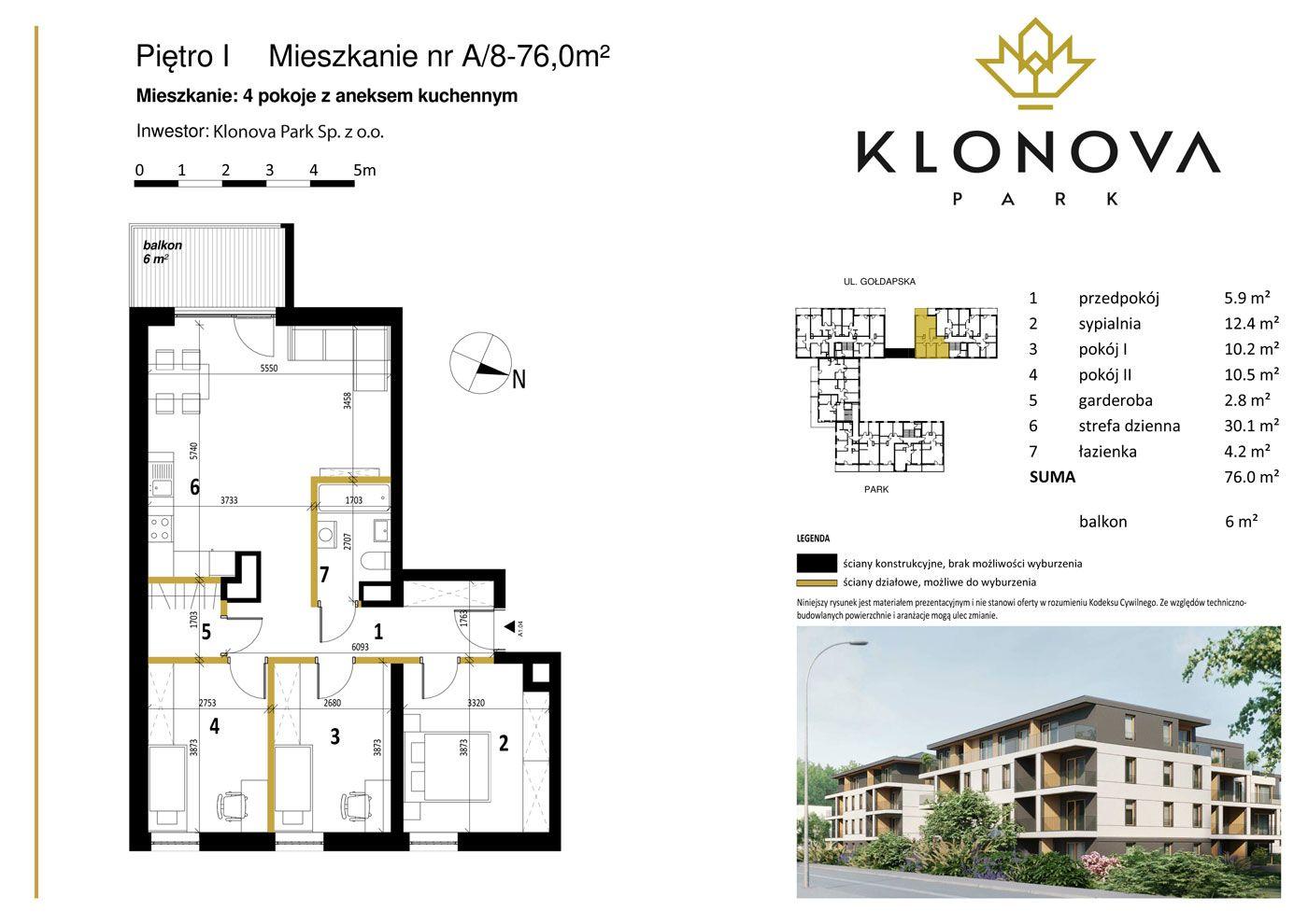 Apartamenty Klonova Park - Plan mieszkania A/8