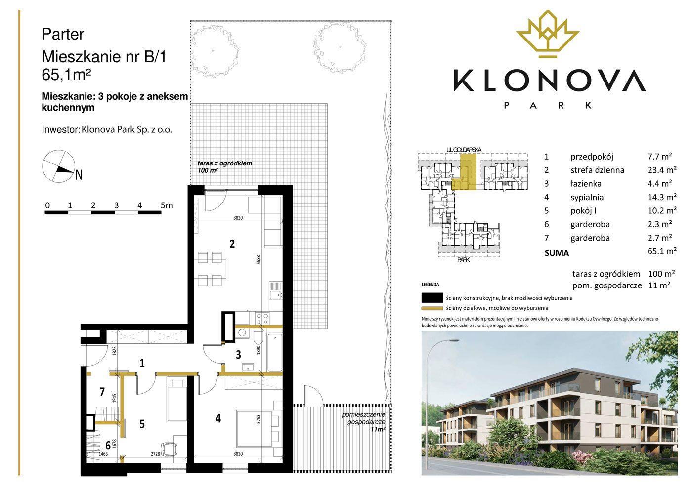 Apartamenty Klonova Park - Plan mieszkania B/1