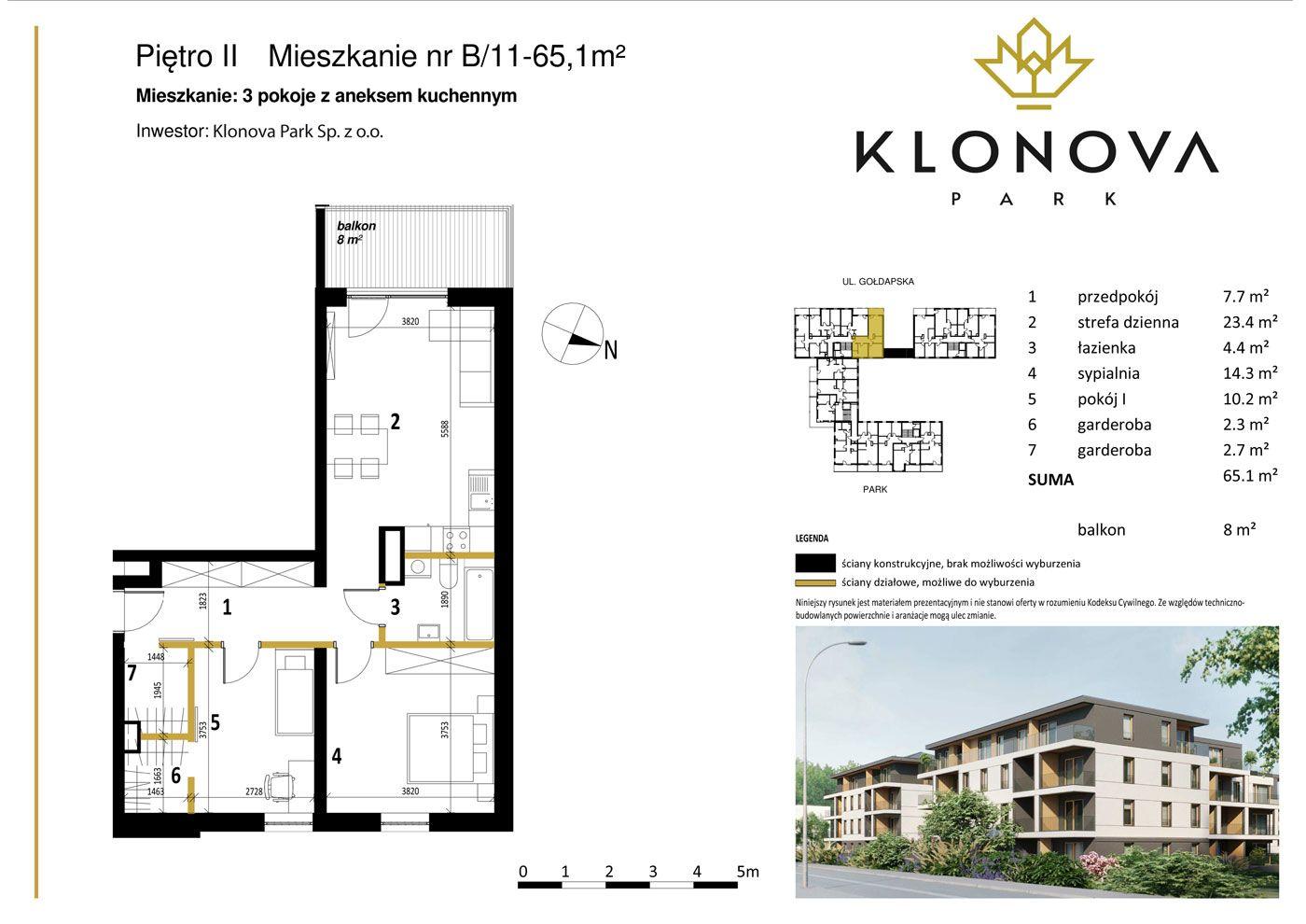 Apartamenty Klonova Park - Plan mieszkania B/11