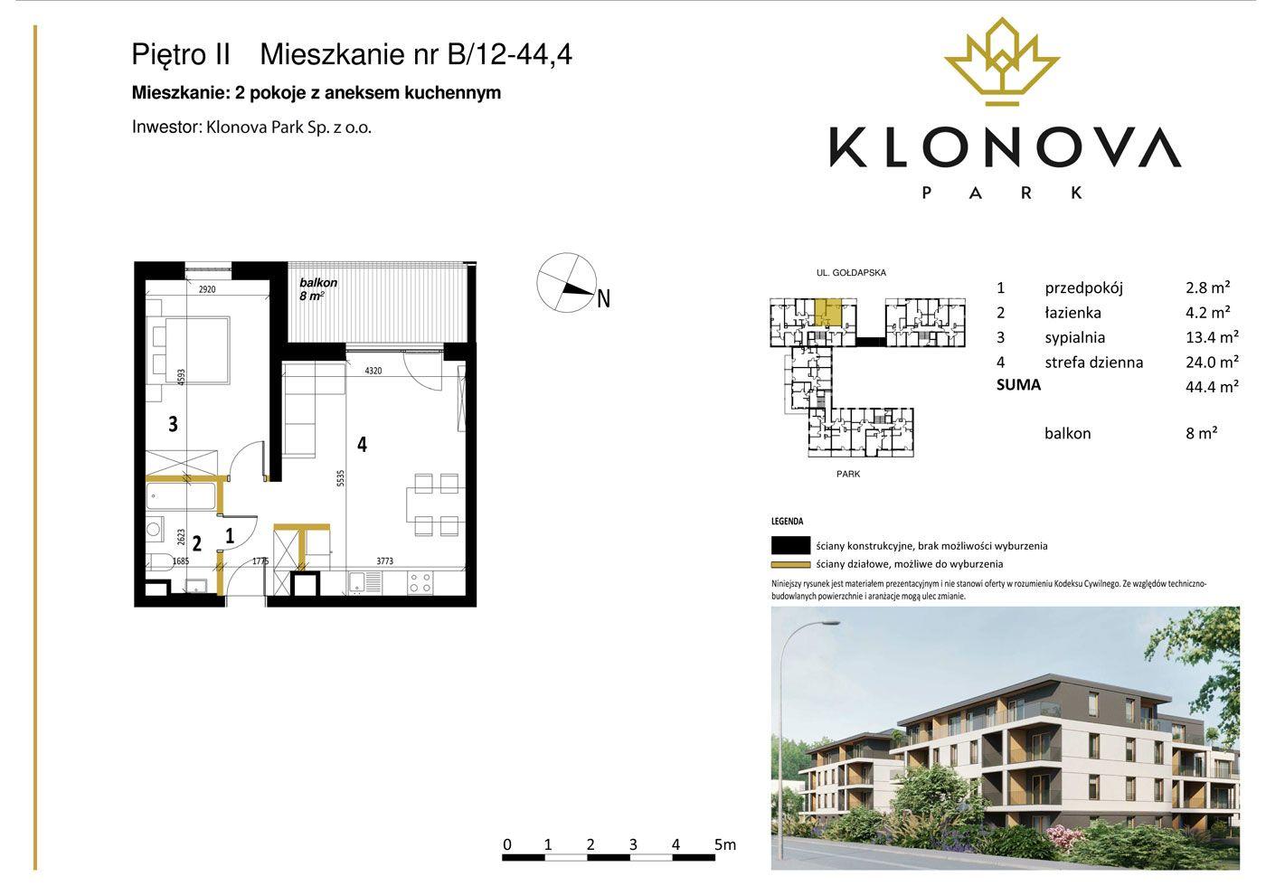Apartamenty Klonova Park - Plan mieszkania B/12