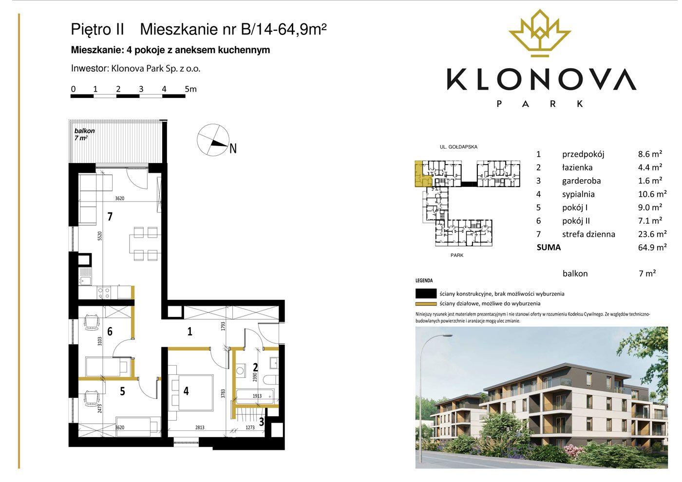 Apartamenty Klonova Park - Plan mieszkania B/14