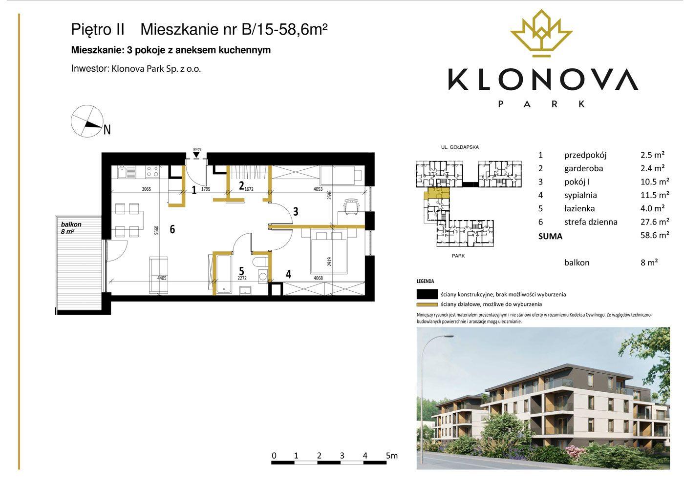 Apartamenty Klonova Park - Plan mieszkania B/15