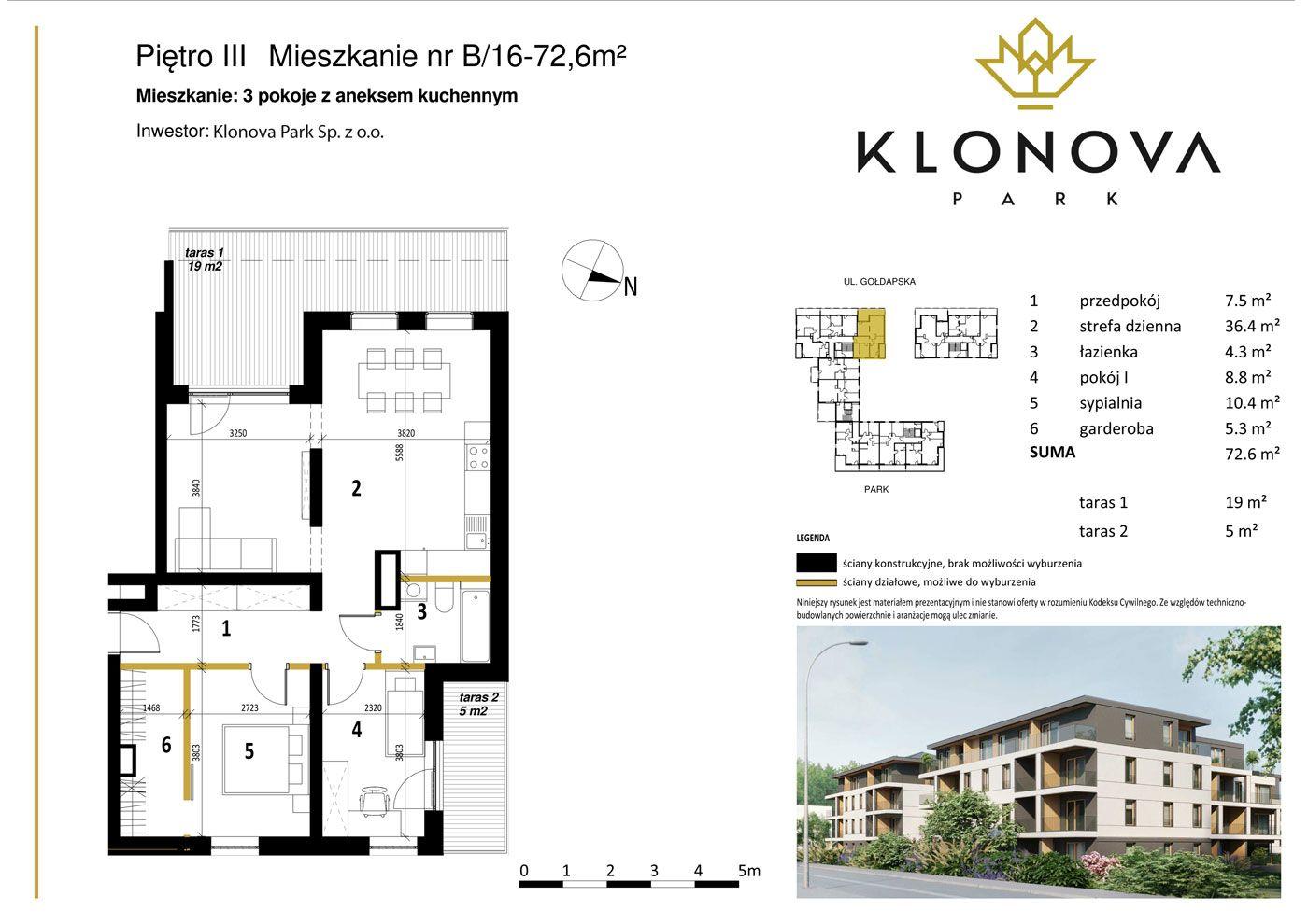 Apartamenty Klonova Park - Plan mieszkania B/16