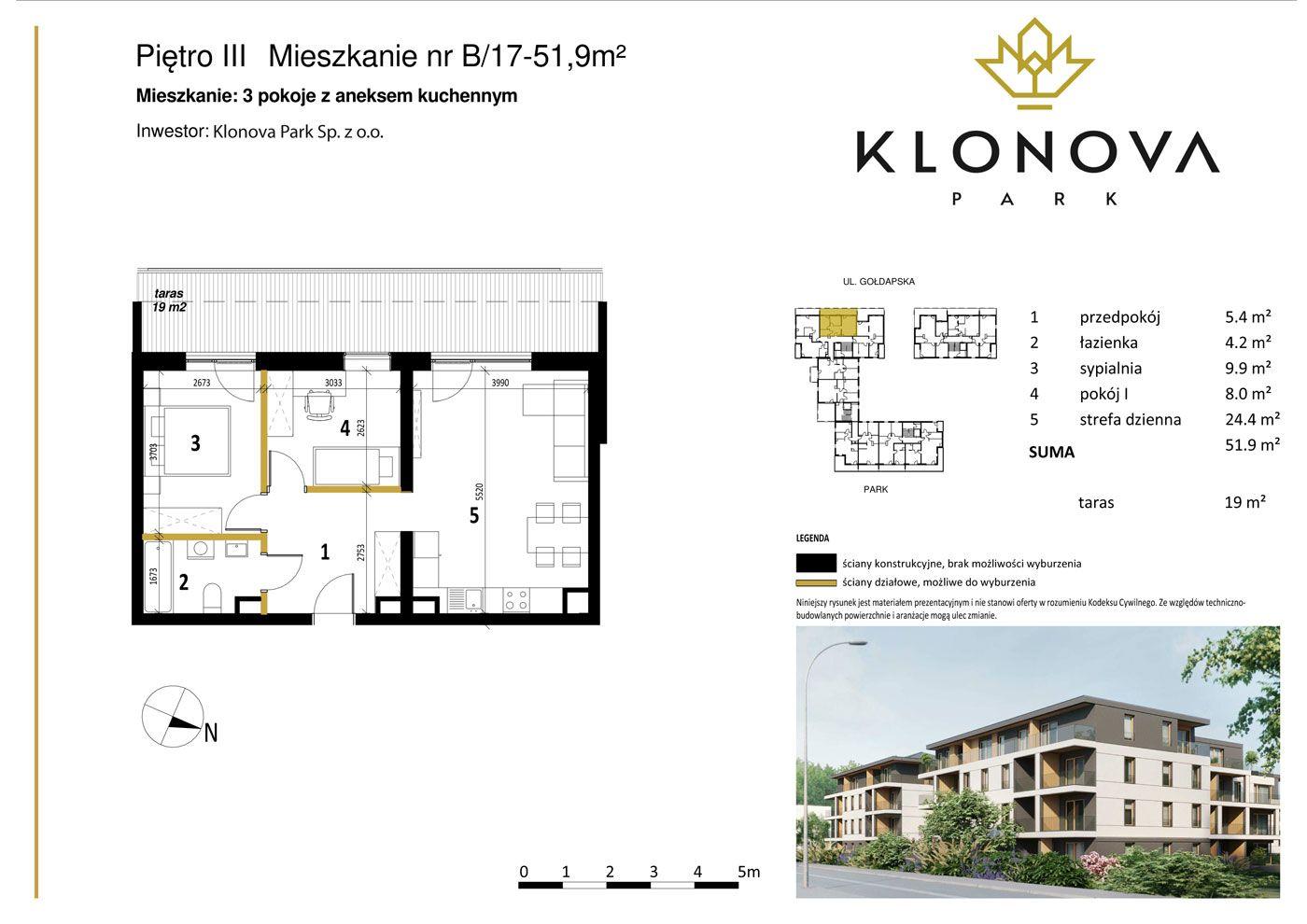 Apartamenty Klonova Park - Plan mieszkania B/17