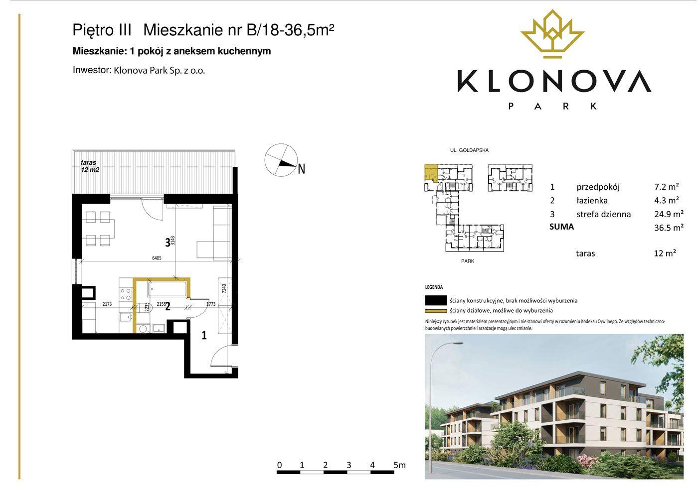 Apartamenty Klonova Park - Plan mieszkania B/18
