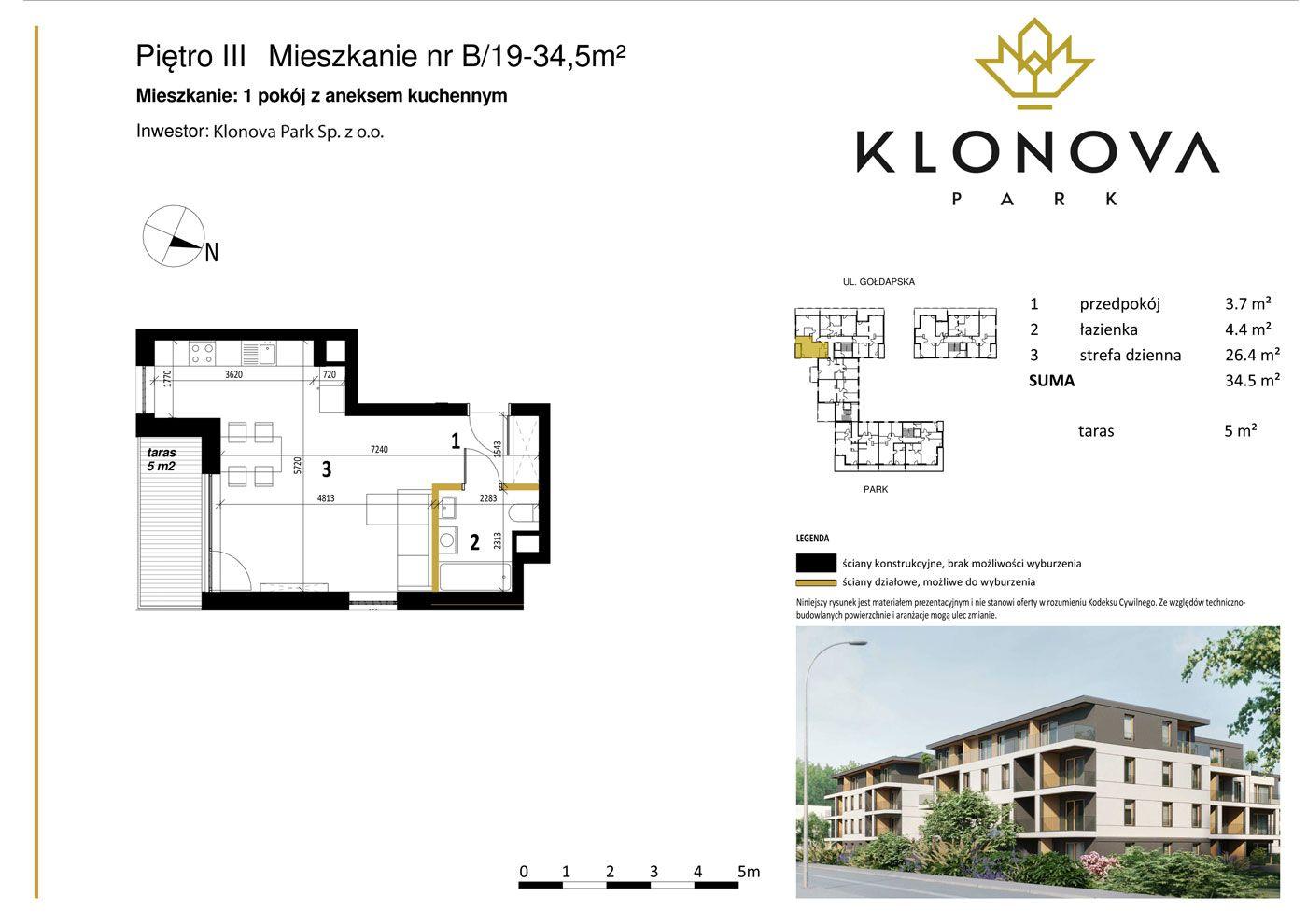 Apartamenty Klonova Park - Plan mieszkania B/19