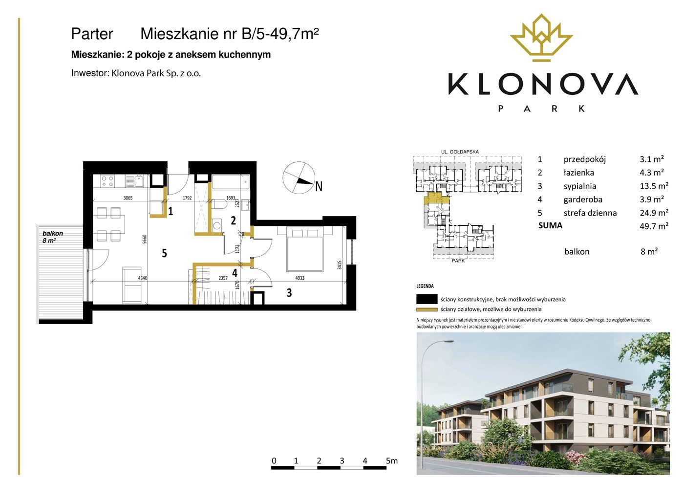 Apartamenty Klonova Park - Plan mieszkania B/5