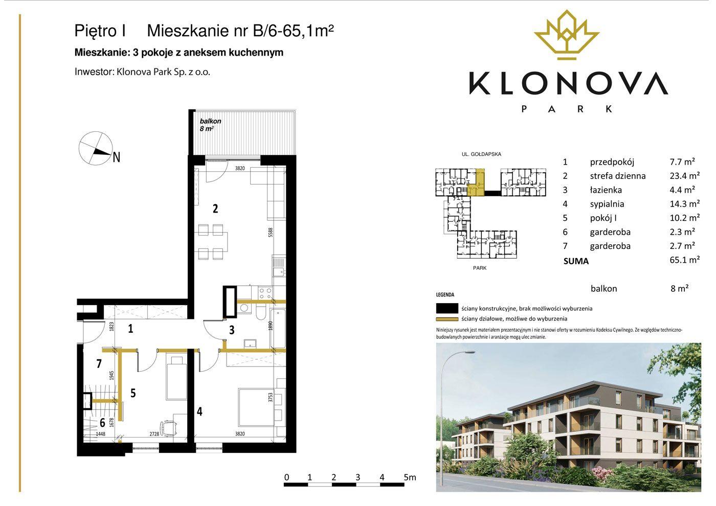 Apartamenty Klonova Park - Plan mieszkania B/6