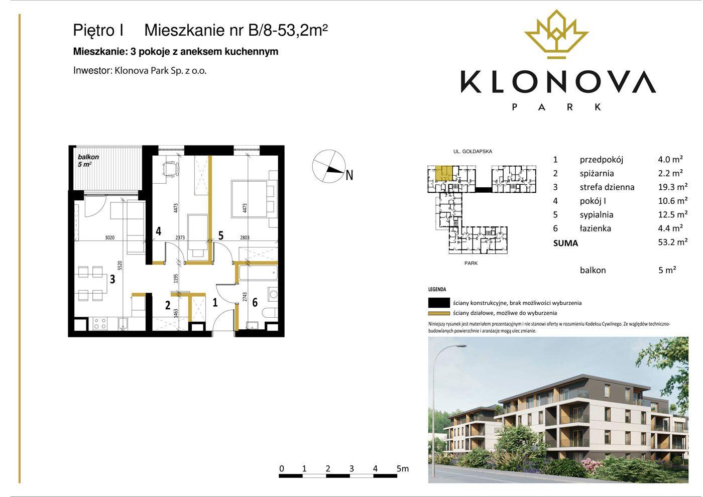 Apartamenty Klonova Park - Plan mieszkania B/8