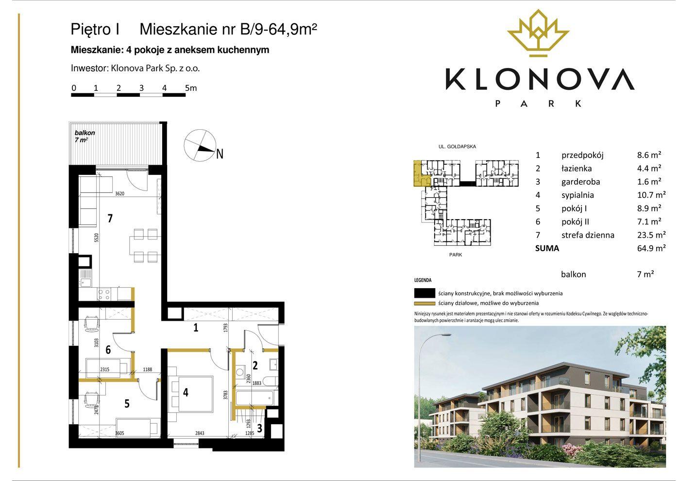 Apartamenty Klonova Park - Plan mieszkania B/9