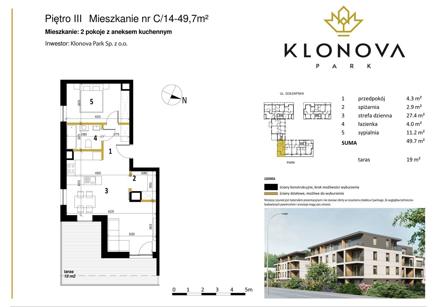 Apartamenty Klonova Park - Plan mieszkania C/14