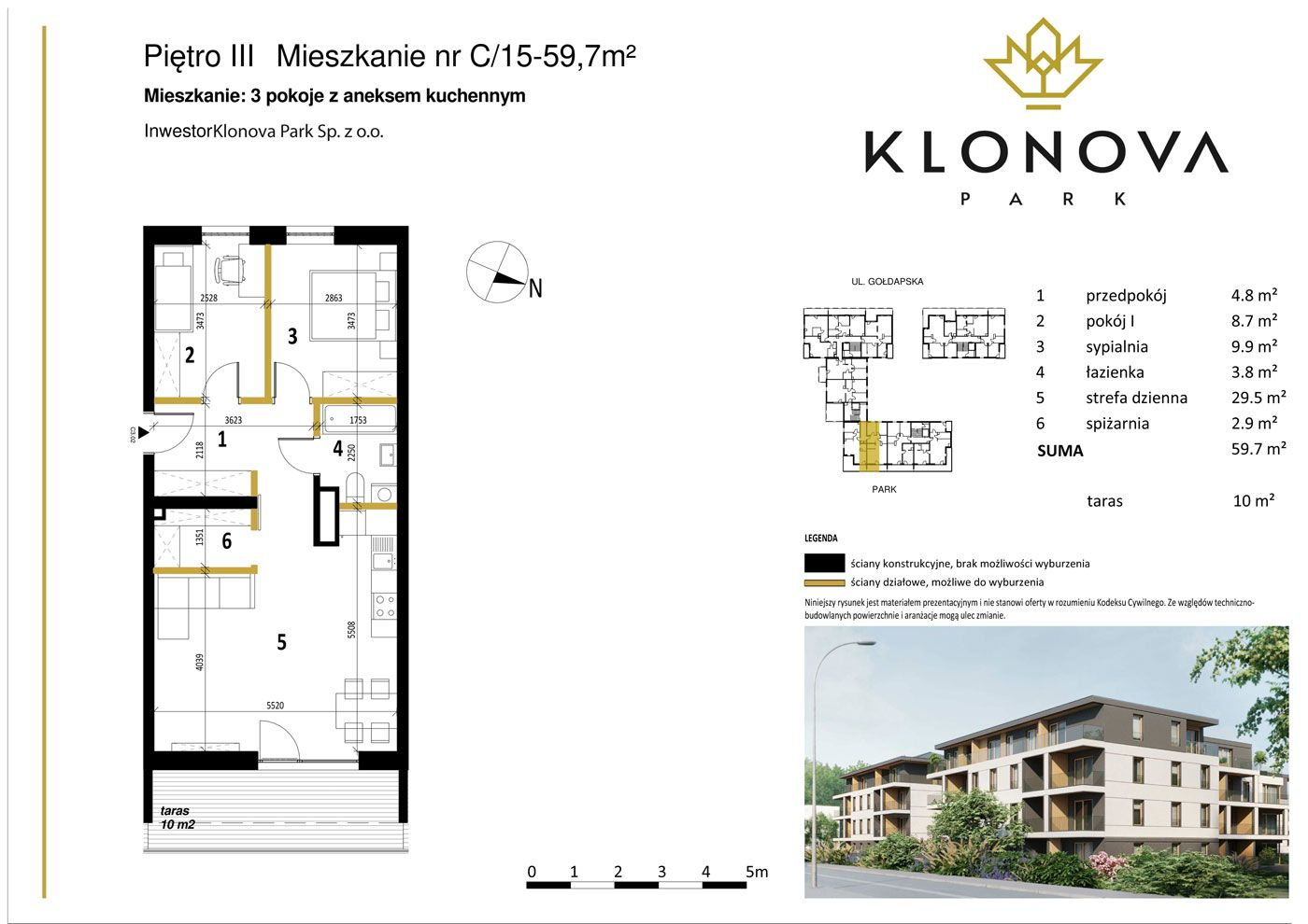 Apartamenty Klonova Park - Plan mieszkania C/15