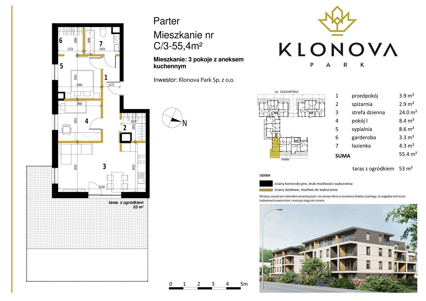 Apartamenty Klonova Park - Plan mieszkania C/3