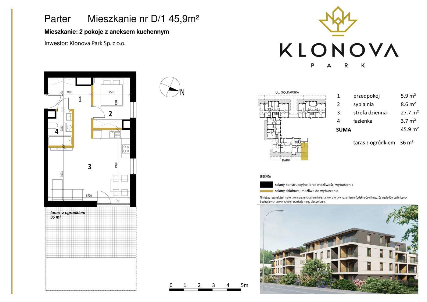 Apartamenty Klonova Park - Plan mieszkania D/1